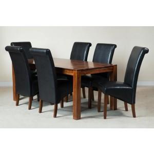 Kashmir Sheesham & Leather 6-Seater Dining Set Dark 1