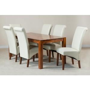 Kashmir Sheesham & Leather 6-Seater Dining Set Ivory 1