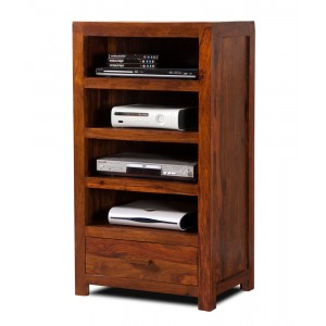 Kashmir Sheesham Tall Hi-Fi Shelving Unit 1