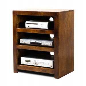 Dakota Mango Low Hi-Fi Shelving Unit 1