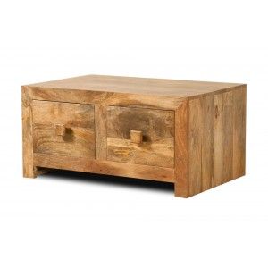 Dakota Light Mango Small 4-Drawer Coffee Table 1