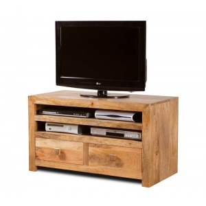 Dakota Light Mango Large 2-Drawer TV Cabinet 1