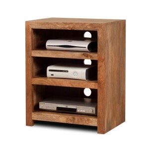 Dakota Light Mango Low Hi-Fi Shelving Unit 1