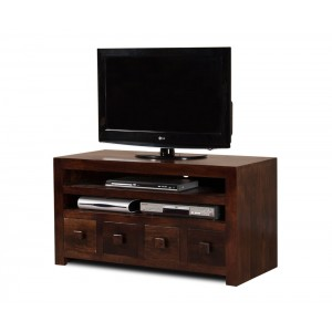 Dakota Dark Mango Large 4 Drawer TV Unit 1