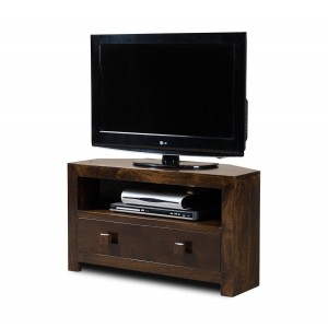 Dakota Dark Mango Small Corner TV Stand 1