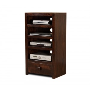 Dakota Dark Mango Tall Hi-Fi Shelving Unit  1