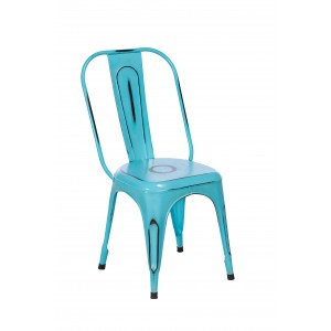 Imari Industrial Metal Dining Chair (Blue)