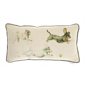 Country Dog Catch Cushion 35cm x 65cm