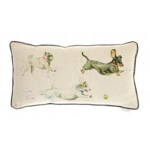 Country Dog Catch Cushion 35cm x 65cm