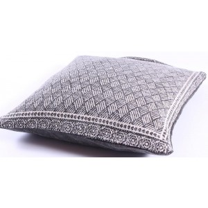 Grey Lattice Cotton Cushion 50x50cm