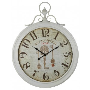 Cream Key To Wisdom Wall Clock