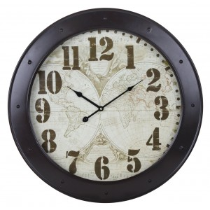 Brown World Map Porthole Clock