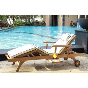 Bedford Teak Sun Lounger With Cushion 1