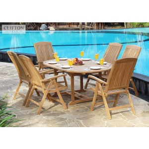 Hampshire 6-Seater Reclining Teak Set 1