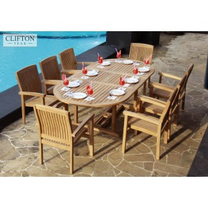 Sussex 8-Seater Extending Teak Dining Set 1