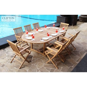 Devon 8-Seater Extending Teak Furniture Set