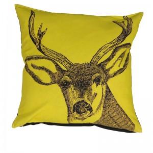 Yellow Stag Cushion 50cm x 50cm