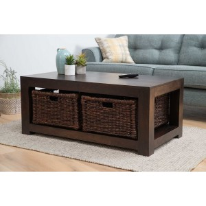 Dakota Dark Mango Large Coffee Table With Baskets 1