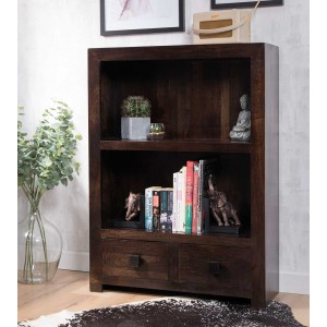Dakota Dark Mango Small 2-Drawer Bookcase