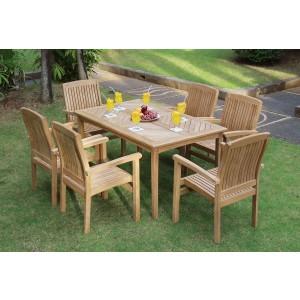 Sussex 6-Seater Rectangular Teak Table & Chairs Set
