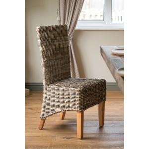 Kubu Grey Rattan Dining Chair - Light Leg 1