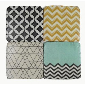 Retro Stone Coasters Set of 4
