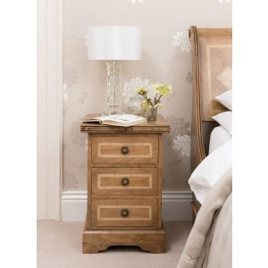 Florence Mango and Stone 3 Drawer Bedside Table 1