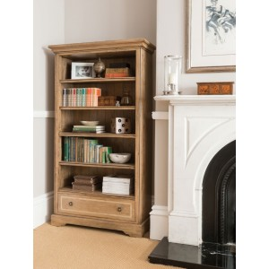 Florence Mango and Stone Tall Bookcase With Drawer 1
