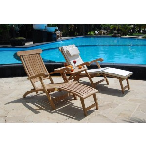 Twin Hampton Teak Steamer Set With Cushions 1