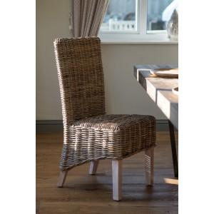 Kubu Rattan Dining Chair - Whitewashed Leg 1