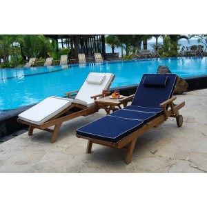 Twin Bedford Teak Sun Loungers Set With Cushions 1