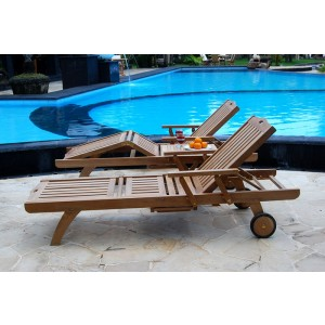 Twin Bedford Teak Sun Loungers Set 1