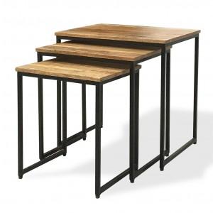 Imari Industrial Light Mango Nest of 3 Tables