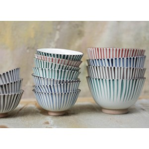 Uka Ceramic Blue Striped Bowl