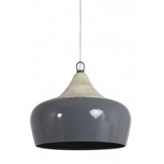 Grey Metal and Wood Ceiling Light