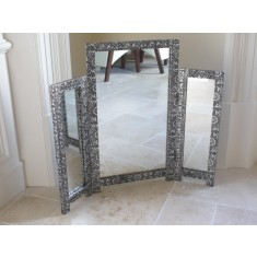 Silver Embossed Triple Mirror