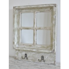 Rustic Window Mirror with Hooks