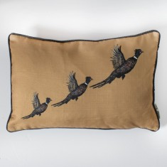 Flying Pheasants Cushion Ochre