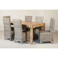 Bahary Rattan 6-Seater Light Mango Dining Set