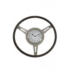 Raw Nickel & Grey Leather Steering Wheel Clock