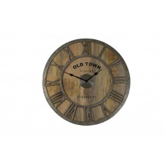 Old Town Baily Wood & Nickel Wall Clock
