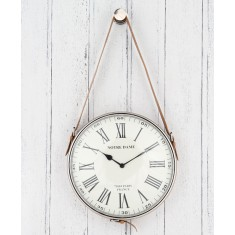 Nickel & Leather Hanging Wall Clock