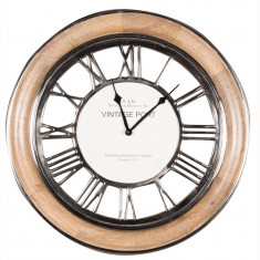 Polished Nickel & Mango Wood Round Wall Clock