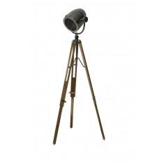 Natural Wood & Steel Tripod Film Floor Lamp
