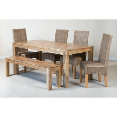 Ibis Rattan 6-Seater Light Mango Dining Bench Set
