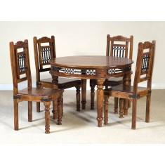 Jali Sheesham Round 4-Seater Dining Set