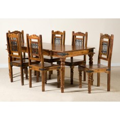 Jali Sheesham 180cm Table & 6 Chairs