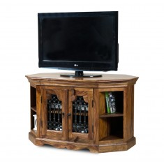Jali Sheesham Corner TV Unit