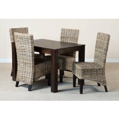 Kubu Rattan 4-Seater Dark Mango Dining Set