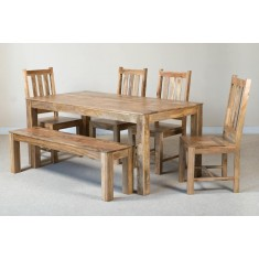 Mango Natural 6-Seater Dining Set With Bench